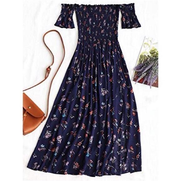 ca784860d4 Floral Slit Smocked Off Shoulder Midi Dress. M_5b861e8734e48a71cc5a8469